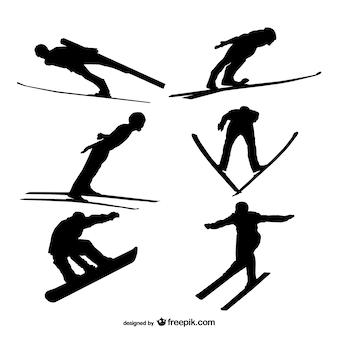 Skifahren silhouetten