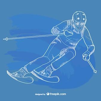 Skifahren umriss