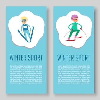 Skifahren und wintersport banner gesetzt.