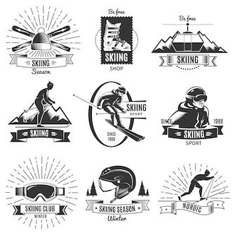 Skifahren vintage logo set