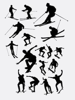 Skifahrer und skateboardfahrer sport menschen silhouette