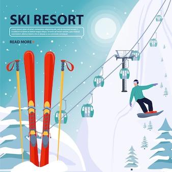 Skigebiet banner illustration.
