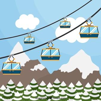Skigebiet design mit aufzug