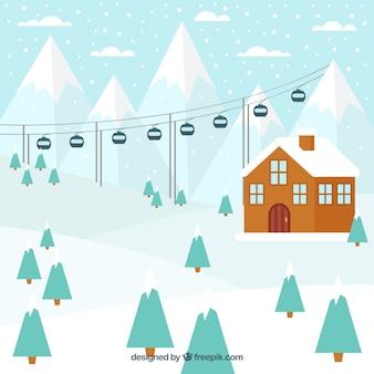 Skigebiet design mit bäumen
