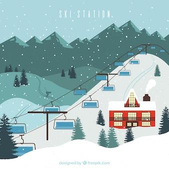 Skigebiet design mit großem aufzug