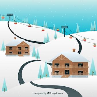 Skigebiet design mit holzhäusern