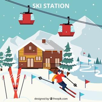 Skigebiet design mit holzhaus