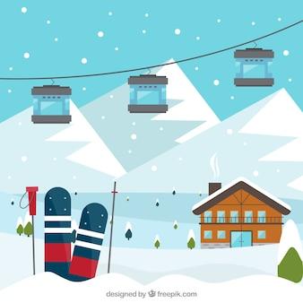 Skigebiet design mit snowboards