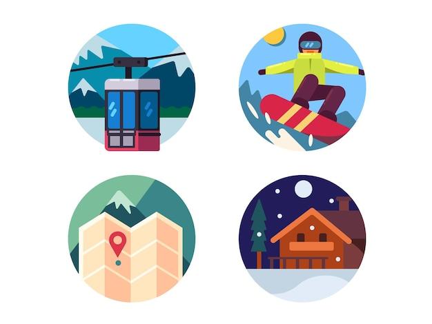 Skigebiet eingestellt. fahren sie auf einem snowboard in den bergen. vektorillustration. pixel perfekte symbole