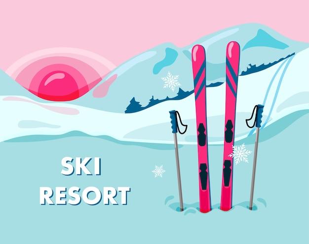 Skigebiet illustration mit einem paar ski auf dem hintergrund einer verschneiten landschaft und berge sonnenuntergang