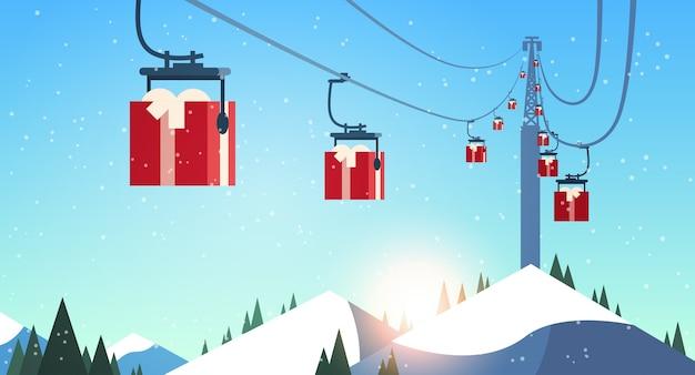 Skigebiet mit geschenkboxen seilbahn in bergen weihnachten neujahrsfeier feier winterurlaub konzept landschaftsillustration