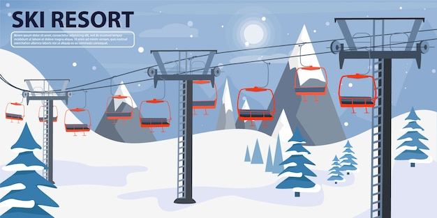 Skigebietsfahnenillustration mit skilift.
