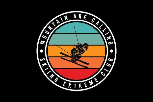 .skiing extrem club, design schlick retro-stil