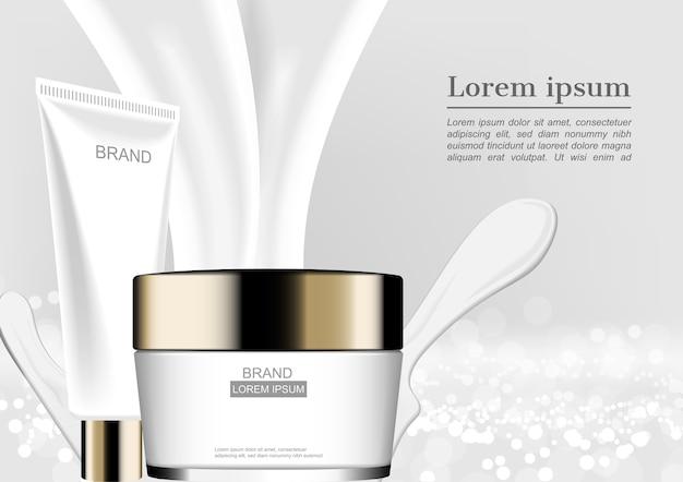 Skincare stellte auf milchspritzen auf weißem funkelnhintergrund ein