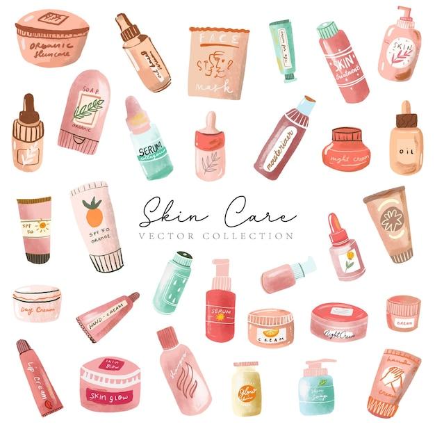 Skincare und kosmetik kollektion