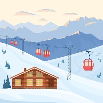 Skiort mit rotem skikabinenlift auf kabelbahn