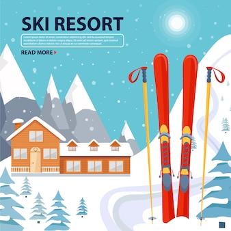 Skiortplakatillustration mit holzhaus und skiausrüstung auf schneebedeckter landschaft mit bergen
