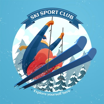 Skisportclubillustration mit skifahrer, der auf skiorthintergrund in die luft springt