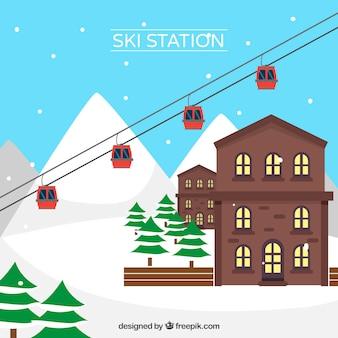 Skistation design mit braunen häusern