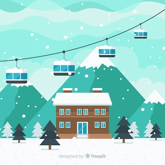 Skistation flache landschaft