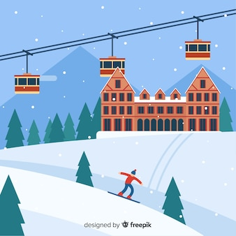 Skistation hintergrund