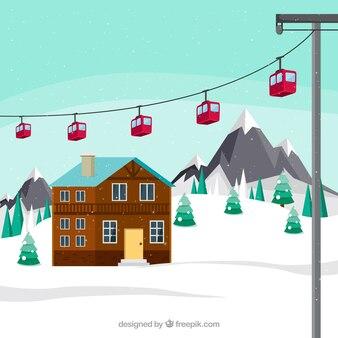 Skistation mit rotem lift