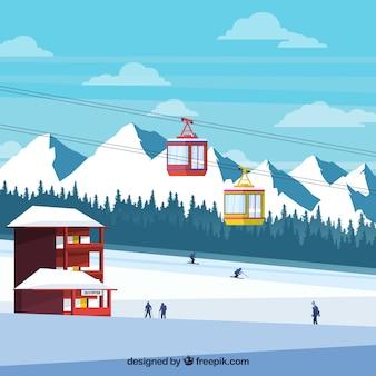 Skistationsdesign mit bergen im hintergrund