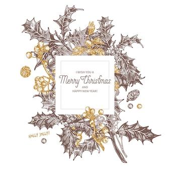 Skizze banner mit weihnachtsfestpflanzen, tannenzweigen, fichte, stechpalmenbeere, weißdorn, zapfen