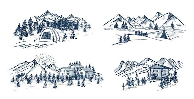 Skizze camping in der natur set berglandschaft
