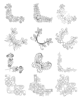 Skizze dekorative florale eckgrenzen sammlung