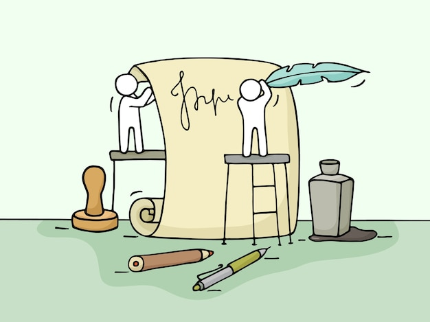 Skizze der arbeit kleiner leute mit dokument. kritzele niedliche miniatur der teamarbeit. hand gezeichnete karikaturillustration für geschäftsdesign und infografik.