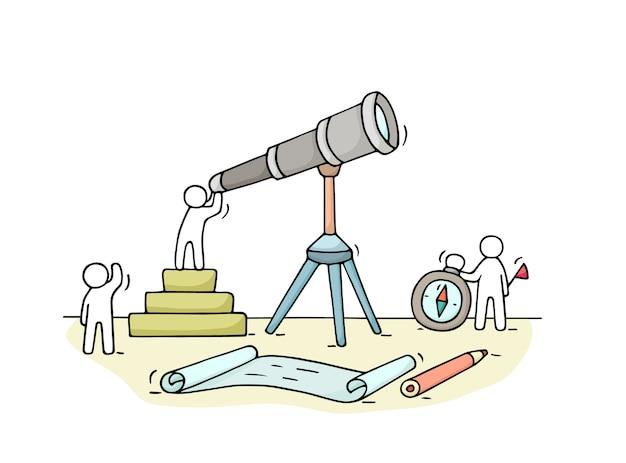 Skizze der arbeit kleiner leute mit fernglas, teamarbeit. kritzeln sie niedliche miniaturszene von arbeitern, die etwas entdecken. hand gezeichnete karikatur für geschäftsdesign und infografik.