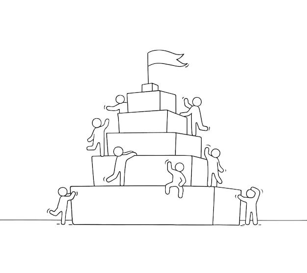 Skizze der arbeit kleiner leute mit piramide. doodle süße miniaturszene von arbeitern über führung. handgezeichnete cartoon-vektor-illustration für business-design und infografik.