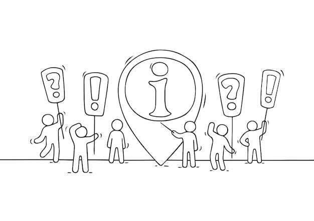 Skizze der arbeitenden kleinen leute mit infozeichen. kritzeln sie niedliche miniaturszene von arbeitern, die versuchen, problem zu lösen. hand gezeichnete karikaturillustration