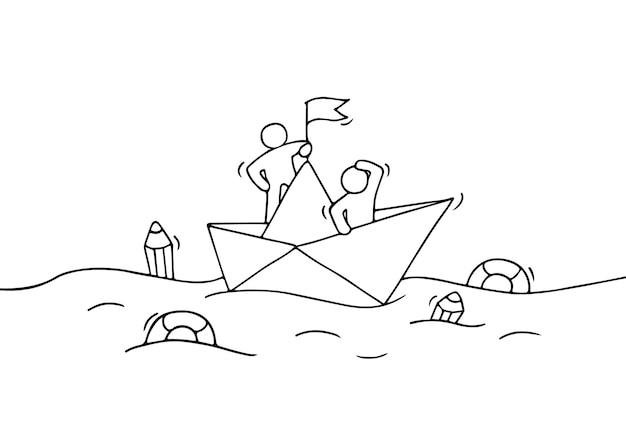 Skizze der arbeitenden kleinen leute mit papierboot. kritzeln sie niedliche miniaturszene der arbeiter mit entdeckungskonzept. hand gezeichnete karikatur für geschäftsentwurf.