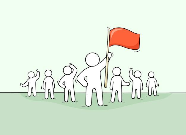 Skizze der arbeitenden kleinen leute und des führers mit flagge. kritzeln sie niedliches konzept über teamarbeit über führung. hand gezeichnete karikaturillustration