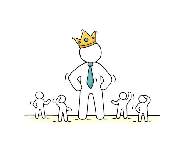 Skizze der arbeitenden kleinen leute und des großen chefs in der kronenillustration