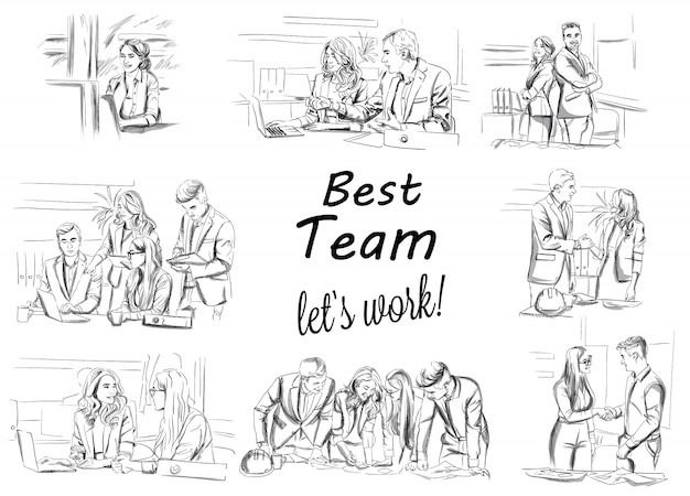 Skizze der arbeitsteam-arbeitssammlung