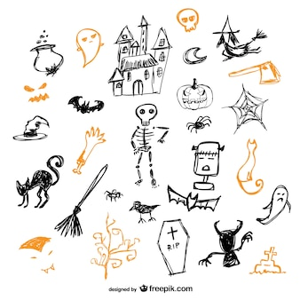 Skizze der halloween-symbole vektor-set