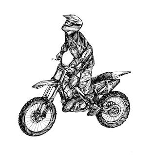 Skizze der handzeichnung des motocross-rennsports