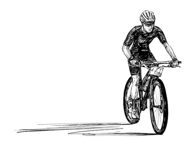Skizze der handzeichnung des mountainbike-wettbewerbs Premium Vektoren