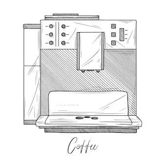 Skizze der kaffeemaschine auf weißem hintergrund. illustration im skizzenstil.