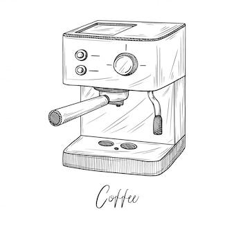Skizze der kaffeemaschine isolierte illustration