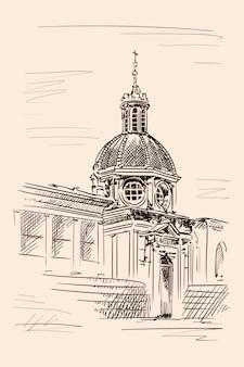 Skizze der kuppel der kathedrale im klassischen stil mit bögen, statuen und uhren. skizze auf beigem hintergrund.
