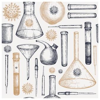 Skizze der laborausstattung. handgezeichnete glaspipette und trichterset. prüfgeräte für chemische und medizinische labors. pipette und trichter für wissenschaftliche experimente oder mess- und virusmoleküle