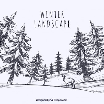 Skizze der landschaft mit bäumen und hirsche