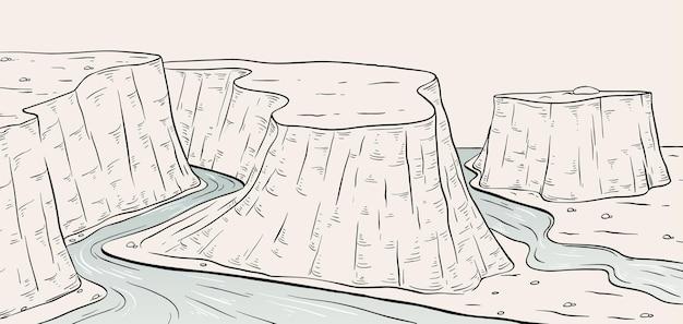 Skizze der landschaftsszene der plateau-schlucht