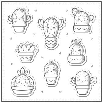 Skizze der niedlichen kaktussammlungssatzzeichnung zum färben