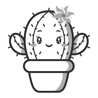 Skizze der niedlichen kaktuszeichnung zum färben