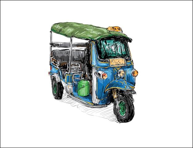 Skizze der transportstadt zeigen traditionelles taxi-motorrad tuk-tuk in thailand, illustration